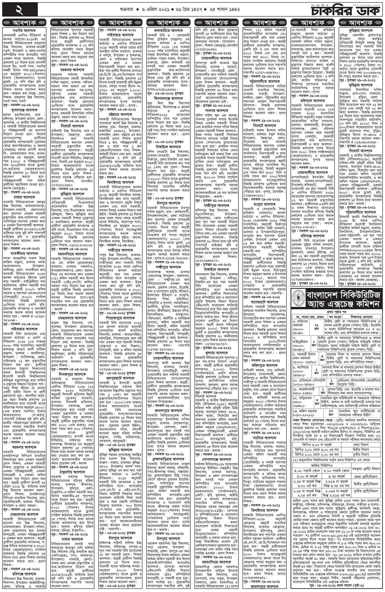 ০৯ এপ্রিল ২০২১ সাপ্তাহিক চাকরির খবর পত্রিকা - 09 April 2021 saptahik chakrir khobor Potrika - weekly job news Paper 09-04-2021