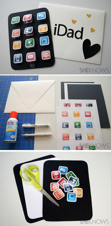 cartão criativos dia dos pais com icones de celular