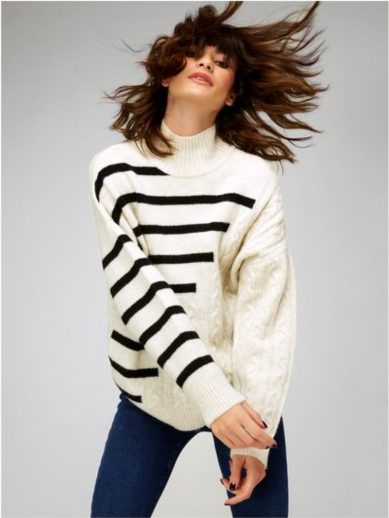 Striped and Cable knit sweater