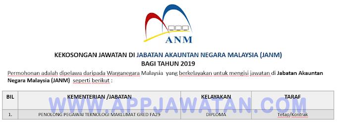 Jawatan Kosong Terkini di Jabatan Akauntan Negara Malaysia (JANM).