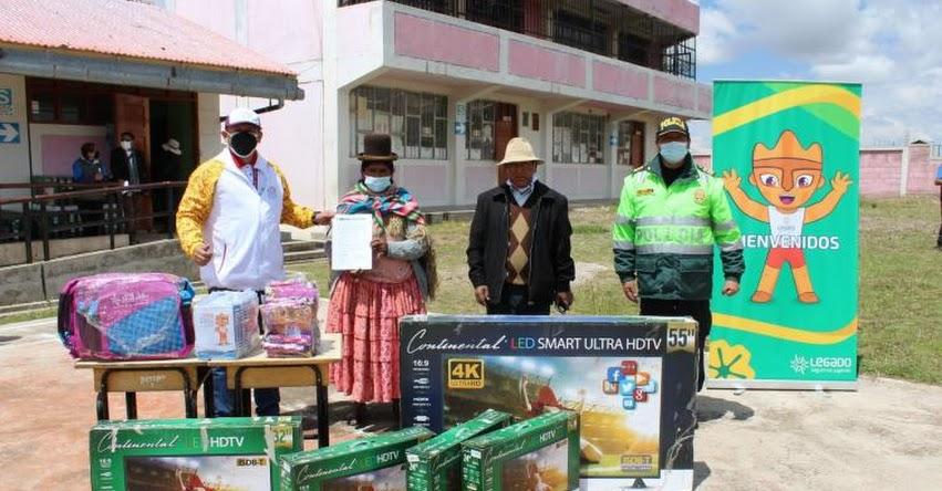 Donan televisores para reforzar educación remota de 1,200 escolares en Puno