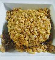 Soya patty dusted and covered with corn flakes for soya protein burger recipe