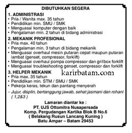 Lowongan kerja PT. UJS Otomitra Nusapersada