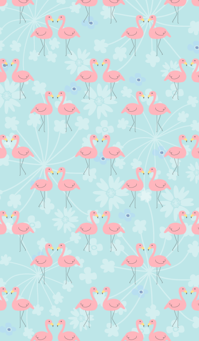 Flamingo and flower- Green-