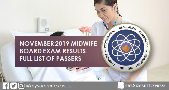 FULL RESULTS: November 2019 Midwife board exam list of passers, top 10