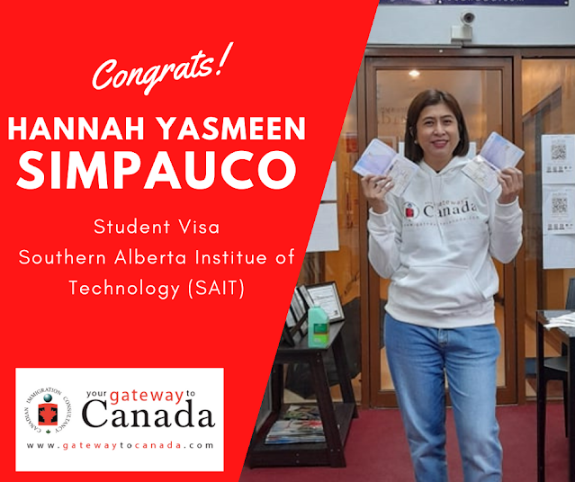 Ms Hannah Yasmeen Simpauco is going to Southern Alberta Institute of Technology. Congrats!