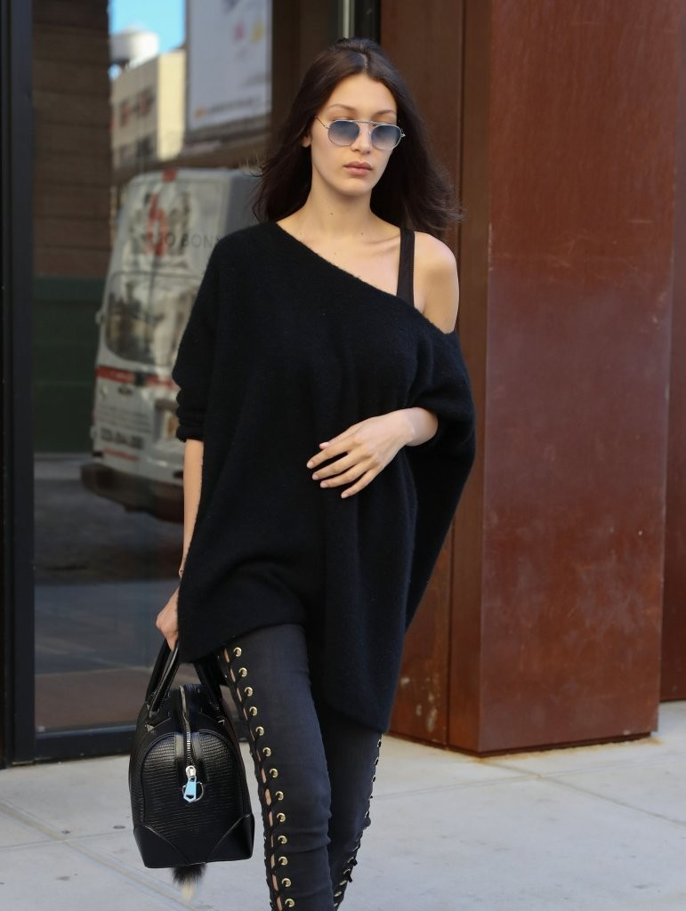 Bella Hadid Styles Classic Black for NYC Street Style Look