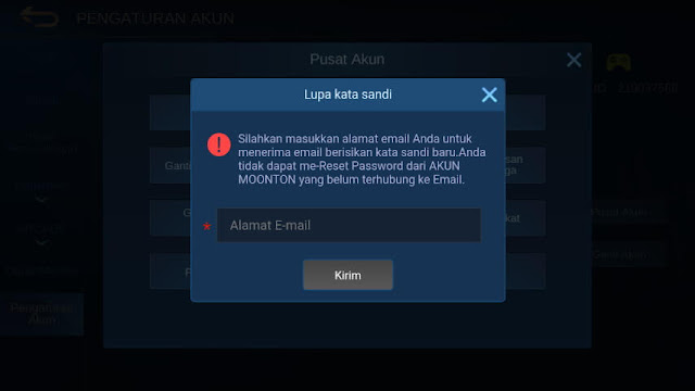 Isi Email Akun Moonton Mobile Legends