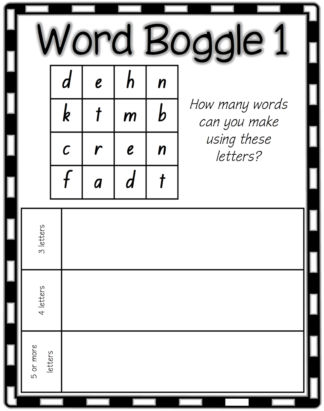 Classroom Treasures Word Work Boggle