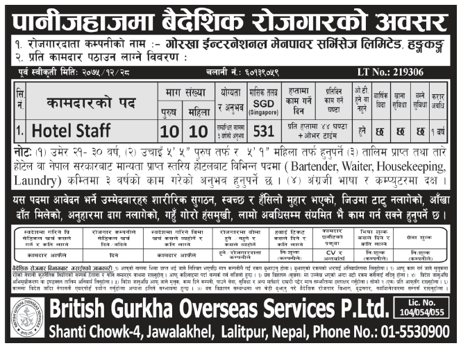 Jobs in Hong Kong for Nepali, Salary Rs 43,542