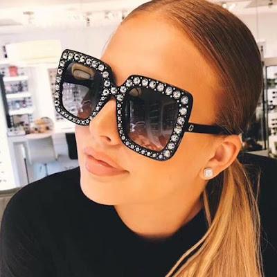 tendencia Óculos Armação decorada pedrarias