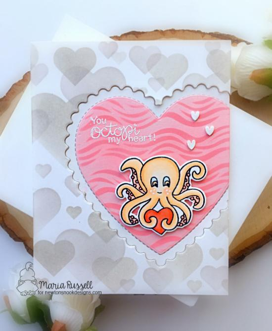 Octopus Valentine by Maria Russell | Tides of Love Stamp Set Stamp Set, Bokeh Hearts Stencil Set and Waves Stencil by Newton's Nook Designs #newtonsnook #handmade