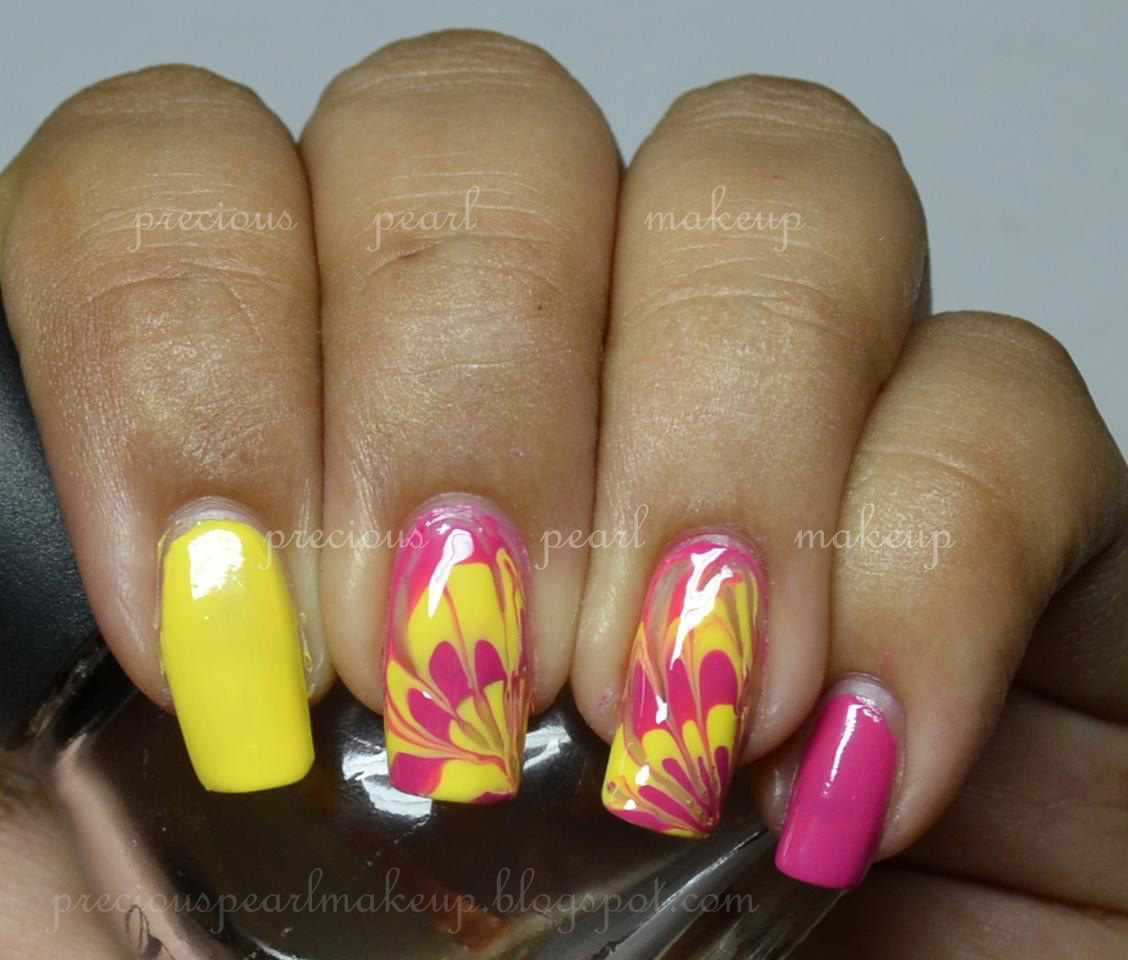Preciouspearlmakeup: Dry Watermarbled Nails: Yellow And Pink