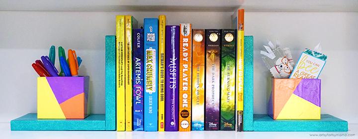 DIY Organizer Bookends on Shelf