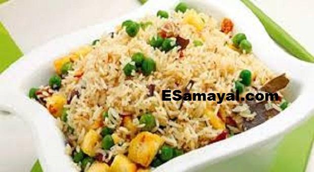 ஸ்வீட் கார்ன் - பச்சைப் பட்டாணி பிரியாணி செய்வது | Sweet Corn - green peas Biriyani !