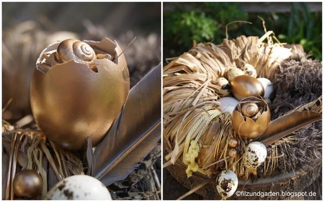DIY Kranz als Osternest für goldene Eier