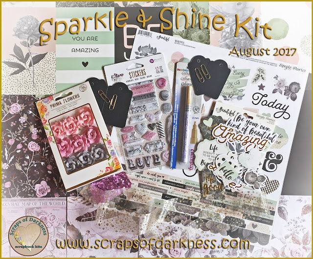 Scraps of Darkness scrapbook kits August 2017 Sparkle & Shine kit, featuring Prima Rose Quartz and Simple Stories Beautiful collections