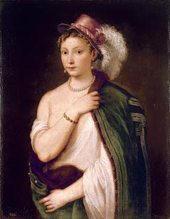 美術館 情報サイト アートアジェンダ ティツィアーノ・ヴェチェッリオ《羽飾りのある帽子をかぶった若い女性の肖像》1538年