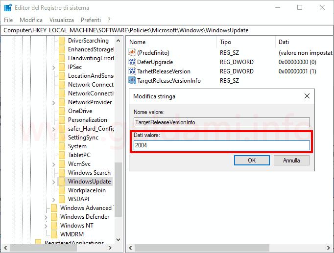 Windows 10 finestra Editor del Registro di sistema