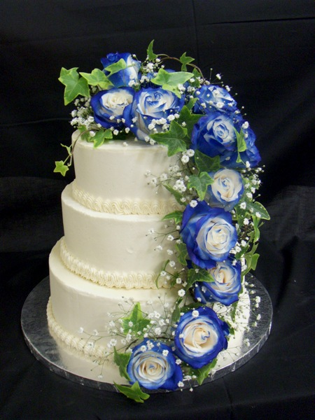 wedding cake with blue roses wedding cakes pictures blue and green wedding cakes 26830
