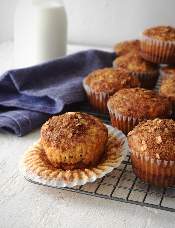 Muffins de avena con canela en el tope