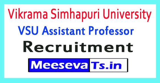 Vikrama Simhapuri University VSU Assistant Professor Recruitment 2018