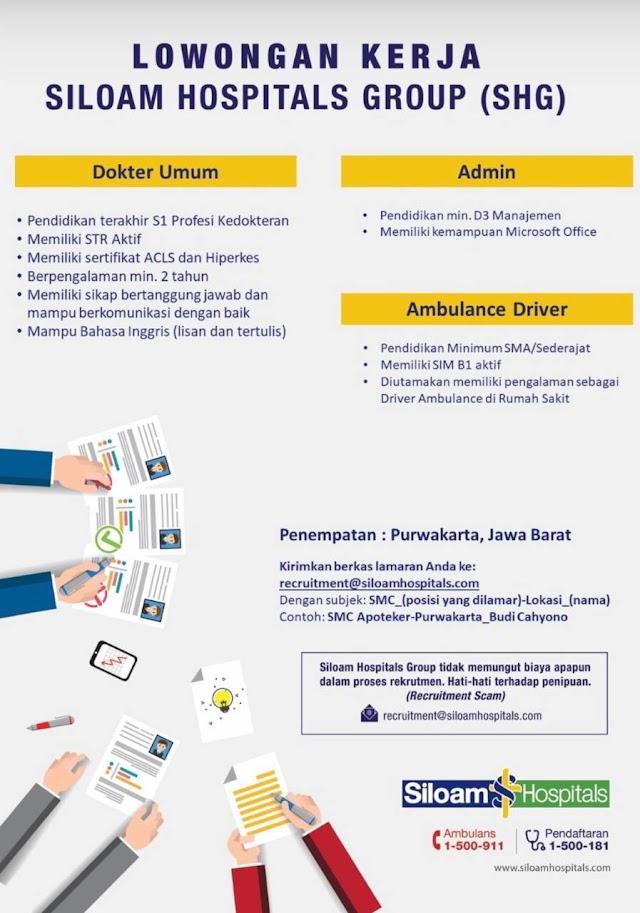 Loker Dokter Siloam Hospitals Group (SHG) Penempatan Purwakarta, Jawa Barat