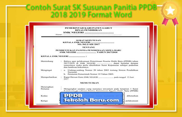 Contoh Surat SK Susunan Panitia PPDB 2018 2019 Format Word