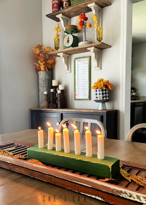 wooden candle holder table centerpiece