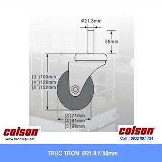 Bảng vẽ kích thước trục trơn bánh xe đẩy cao su chịu tải trọng (120~146kg):