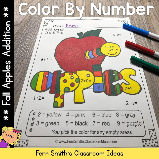 Click Here to Download These Fall Color By Number Addition Apple Themed Printables For Your Students Today!