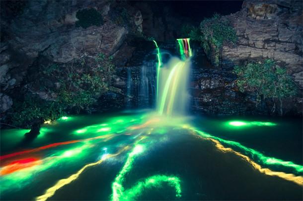 Glowing Waterfalls