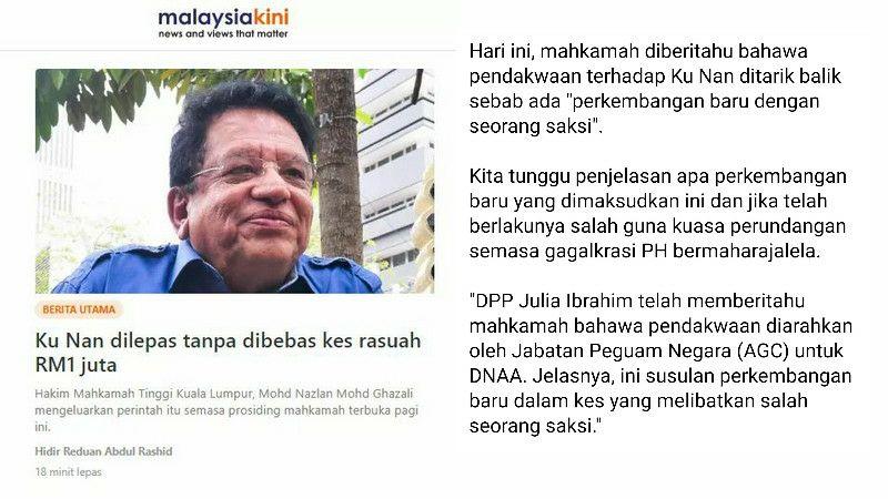 Datuk Tan dari kena dakwa jadi saksi pendakwaan Ku Nan