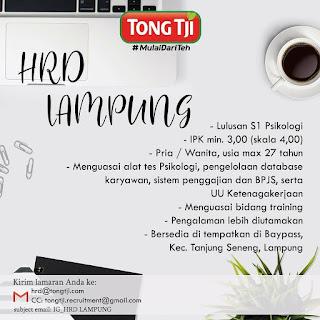 Info Lowongan Kerja HRD Tong Tji Lampung