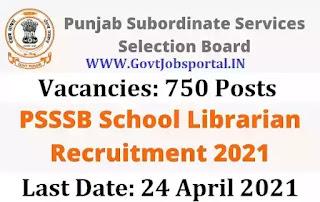 SSSB Punjab Recruitment for 750 School Librarian Posts - Punjab Government Jobs 2021