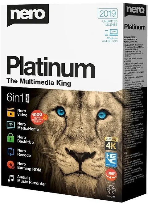 Nero 2019 Platinum v20.0.07200 Free Download