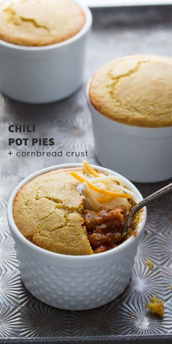 Chili Pot Pies with Cornbread Crust #recipes #thingstocookforsupper #food #foodporn #healthy #yummy #instafood #foodie #delicious #dinner #breakfast #dessert #yum #lunch #vegan #cake #eatclean #homemade #diet #healthyfood #cleaneating #foodstagram