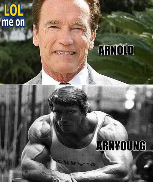 "funny celebrities picture shows arnold schwarzenegger from ""LOL me on"""