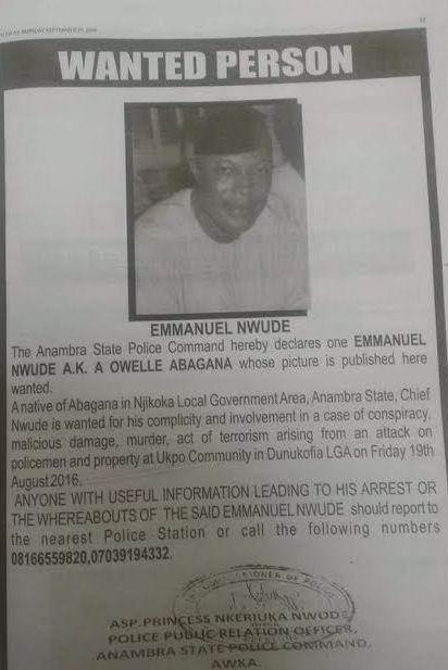 Anambra State Police declares ex-419 kingpin Chief Emmanuel Nwude (Owelle Abagana) wanted