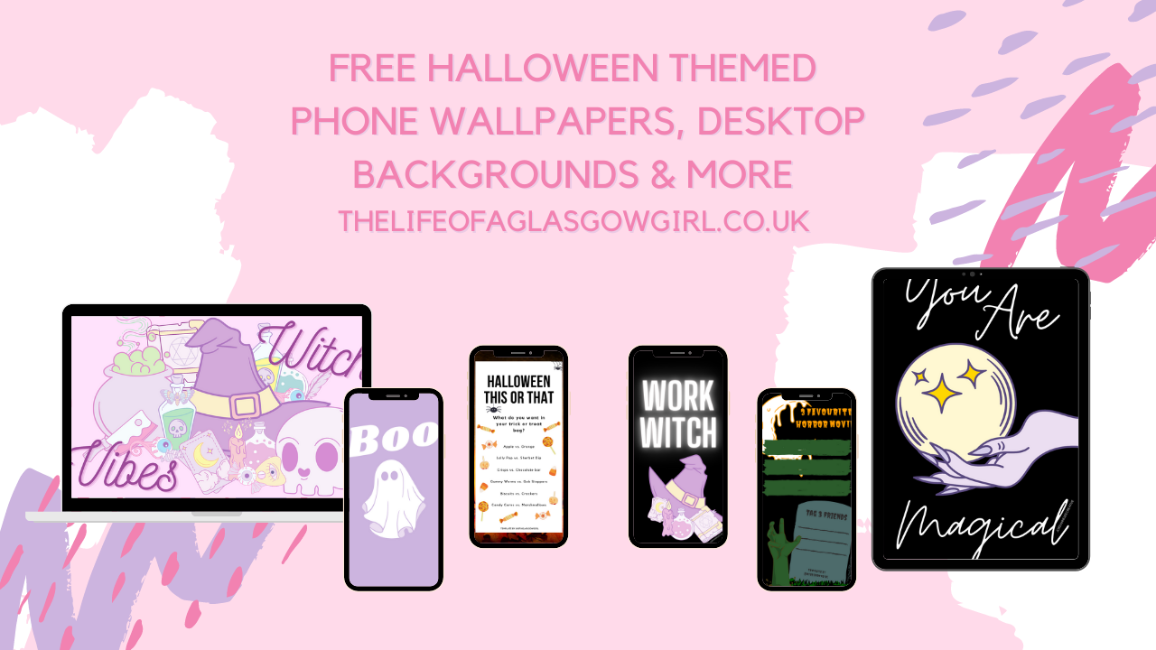 """A pink graphic that has """"Free Halloween Themed Freebies"""" written on it."""