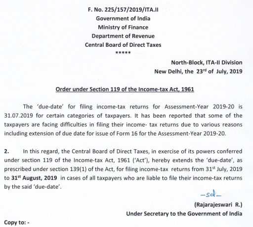 Due Date To File Income Tax Return Extended Ay 2019 20 Simple