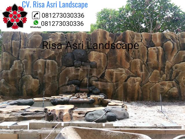 cv. risa asri landscape gambar desain kolam dekorasi kolam tebing air terjun mancur ornamen relif