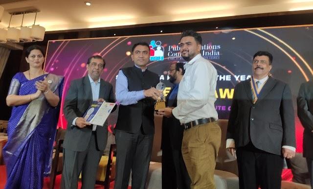 Assam's Subhankar Banerjee receives Public Relations Council of India's Chanakya award at Goa.