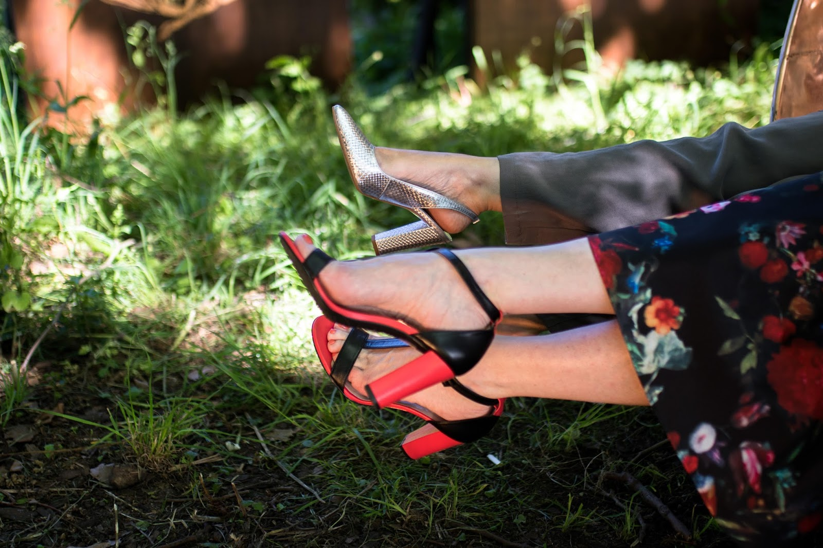 Tomato-red-black-leather-high-heeled-sandals