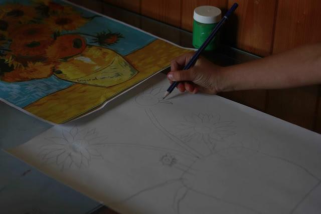 olalar magazine art pour enfants  peindre à la manière de van gogh tableau les tournesols, art study