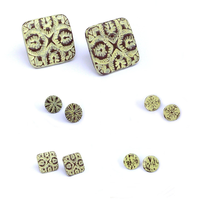 dedabl: Stud earrings, Lime green, vintage wood style by ...