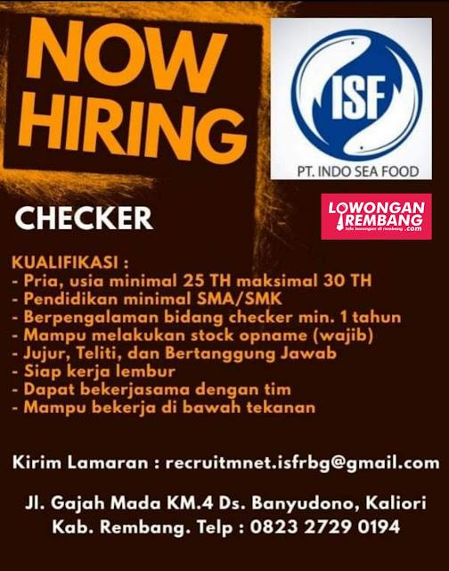 Lowongan Kerja Checker PT Indo Sea Food Rembang