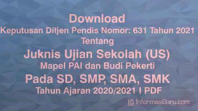 Keputusan Ditjen Pendis Nomor: 631 Tahun 2021 Tentang Juknis Ujian Sekolah (US) Mapel PAI dan BP Pada SD, SMP, SMA, SMK Tahun Ajaran 2020/2021 I PDF