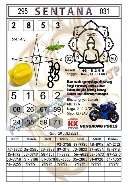 Syair Sentana HK Rabu 28-07-2021