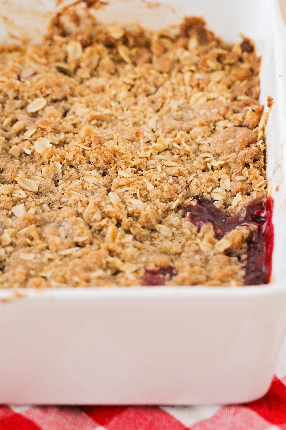 This cherry peach crisp is full of juicy summer fruit, and so easy to make. It's the perfect summer dessert!